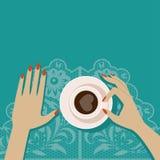 Płaska wektorowa ilustracyjna filiżanka kawy Zdjęcie Stock