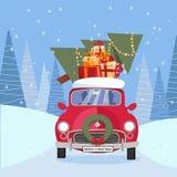 Płaska wektorowa kreskówki ilustracja retro samochód z teraźniejszość, choinka na dachu Mali czerwoni samochodowi przewożenie pre ilustracja wektor