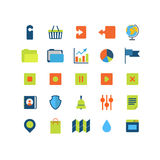 Płaska wektorowa mobilna sieci app interfejsu ikony paczka: upload ściąganie Zdjęcia Royalty Free