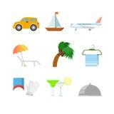 Płaska wektorowa podróż wakacje sieci app ikona: samochodowy łódkowaty jachtu samolot Zdjęcie Stock