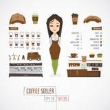 Płaski śmieszny charatcer kawy sprzedawca ilustracji