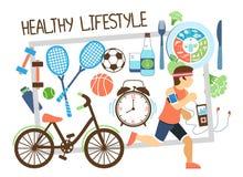 Płaski Aktywny stylu życia skład ilustracji