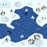 Płaski Arktyczny mapa wzoru wariant A royalty ilustracja