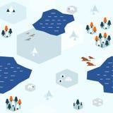 Płaski Arktyczny mapa wzoru wariant royalty ilustracja