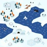 Płaski Arktyczny mapa wzoru wariant C royalty ilustracja