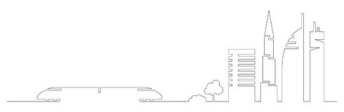 Płaski artystyczny jeden kreskowego projekta miasta wektorowy pociąg i miasto budynki, drapacze chmur, drzewa kształtujemy sylwet ilustracji