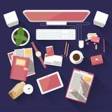 Płaski biurowy workspace ilustracja wektor