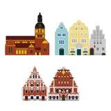 Płaski budynek Latvia kraj, podróży ikony punkt zwrotny Ryska miasto architektura Światowy podróż wakacje zwiedzać Zdjęcie Stock