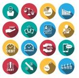 Płaski cienia pieniądze kryzys i dług ikony set ilustracja wektor