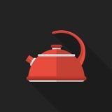 Płaski czajnik z długim cieniem przygotowywa ikonę Fotografia Stock