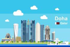 Płaski Doha pejzaż miejski Zdjęcie Stock