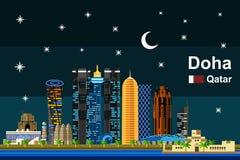 Płaski Doha pejzaż miejski przy nocą Zdjęcie Royalty Free