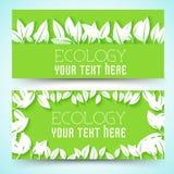 Płaski eco liścia sztandarów pojęcie również zwrócić corel ilustracji wektora Obraz Royalty Free