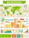 Płaski eco miasta infographics szablon Zdjęcie Stock