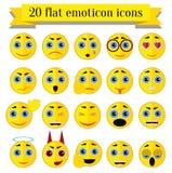 Płaski emoticon wektoru set royalty ilustracja