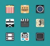 Płaski film ikony set ilustracji