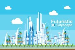 Płaski Futurystyczny pejzaż miejski - Błękitny temat Obrazy Royalty Free
