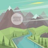 Płaski góra krajobraz z doliną, rzeką i drzewami, Obraz Royalty Free