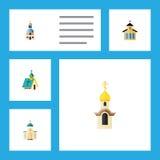 Płaski ikona budynek Ustawiający, Religijny struktura, katolik I Inni Wektorowi przedmioty, Także Zawiera Tradycyjnego ilustracji