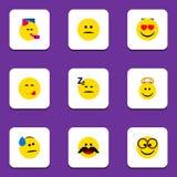 Płaski ikona gesta set, Przyjemny, Także Zawiera Rozochoconego, twarz, Emoji ilustracji