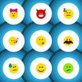 Płaski ikona gesta set radość, pienie, kares I Inni Wektorowi przedmioty, Także Zawiera piosenkę, dosypianie, twarz elementy royalty ilustracja