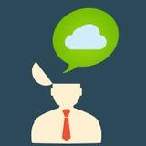 Płaski ikona mężczyzna eps i podeszczowe chmury Fotografia Stock