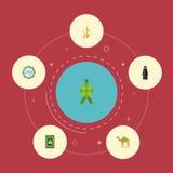 Płaski ikona malajczyk, Dekoracyjny, miotacz I Inni Wektorowi elementy Set Wakacyjni Płascy ikona symbole Także Zawiera muzułmani ilustracji