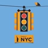Płaski ikona projekt światła ruchu, Nowy Jork, Vect Obrazy Royalty Free