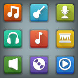 Płaski ikona set. Biali symbole. Muzyka Zdjęcie Stock