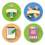 Płaski ikona set z cienia papieru ołówkami i notatnikiem Obraz Stock