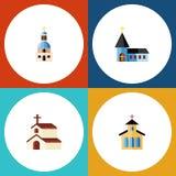 Płaski ikony Chrześcijański Ustawiający chrześcijanin, katolik, religia I Inni Wektorowi przedmioty, Także Zawiera Tradycyjnego,  ilustracji
