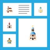 Płaski ikony Chrześcijański Ustawiający religia, kościół, katolik I Inni Wektorowi przedmioty, Także Zawiera kościół, katolik ilustracji