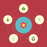 Płaski ikony drzewo, Eco energia, woda I Inni Wektorowi elementy, Set środowisko ikon Płascy symbole Także Zawiera Obraz Stock