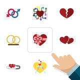 Płaski ikony miłości set emocja, pierścionek, rozwód I Inni Wektorowi przedmioty, Także Zawiera duszę, Wineglasses, Szyldowi elem ilustracji