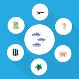 Płaski ikony Morski Ustawiający alga, Tortoise, Hippocampus I Inni Wektorowi przedmioty, Także Zawiera Hippocampus, wędkarz, alga ilustracji