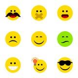 Płaski ikony twarzy set Dobrą opinię, Marszczy brwi, cud I Inni Wektorowi przedmioty Także Zawiera Smutnego, Zmieszany, śmiech Zdjęcie Royalty Free