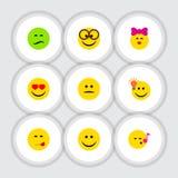 Płaski ikony twarzy set kares, Dobrą opinię royalty ilustracja
