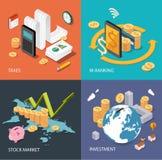 Płaski isometric pojęcie: finanse, rynek papierów wartościowych, inwestuje, podatki, bankowość Obraz Stock