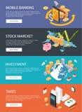 Płaski isometric pojęcie: finanse, rynek papierów wartościowych, inwestuje, podatki, bankowość Zdjęcia Royalty Free