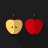 Płaski jabłko z długim cieniem przygotowywa ikonę Zdjęcia Stock