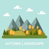 Płaski jesień krajobrazu kwadrata skład Zdjęcia Royalty Free