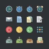 Płaski koloru styl Biurowy & Biznesowe ikony ustawiać Zdjęcia Stock