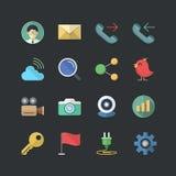 Płaski koloru styl Biurowy & Biznesowe ikony ustawiać Obrazy Stock