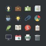 Płaski koloru styl Biznesowy & Biurowe ikony ustawiać Zdjęcie Stock