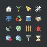 Płaski koloru styl Internetowy & Komunikacyjne ikony ustawiać Zdjęcie Royalty Free