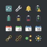Płaski koloru styl Podaniowy & Mobilne ikony ustawiać Obrazy Stock