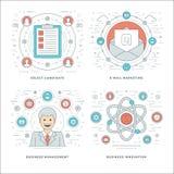 Płaski kreskowy zarządzanie, pracownik rewizja, E-mailowy marketing, Biznesowi pojęcia Ustawia Wektorowe ilustracje royalty ilustracja