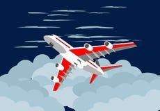 Płaski latanie na niebieskim niebie wśród chmur, podróży pojęcie ilustracji