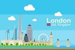 Płaski Londyński pejzaż miejski Zdjęcie Royalty Free