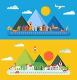 Płaski miasto ilustracji